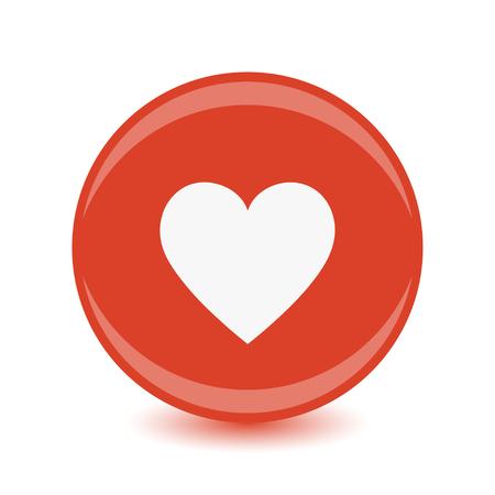 Heart Icon Vector. Round icon, flat design.