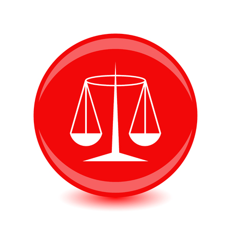 White Justice badge on a red circular background