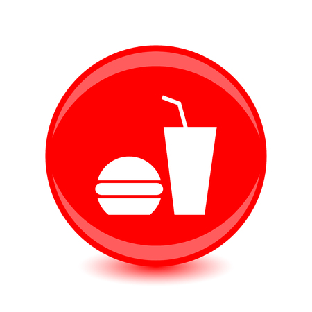 Fast food icon in white silhouette design on circular red background. Vector illustration.