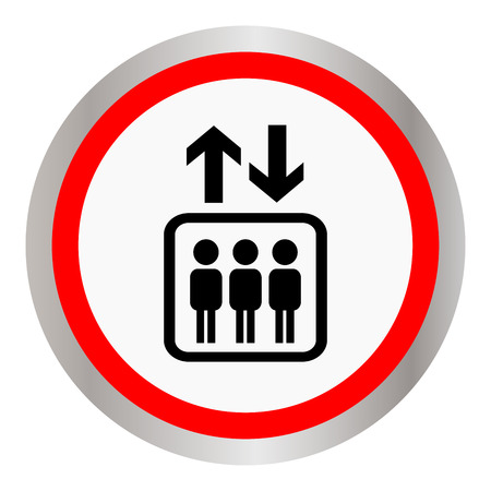 Round icon with the image of the elevator with people