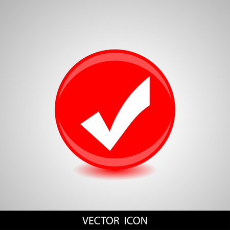 A white Check mark icon on red round shape. Flat design style. Vector illustration Illustration