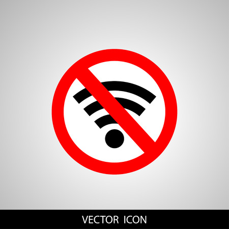 No signal sign vector icon illustration, no signal area, isolated on gray 向量圖像