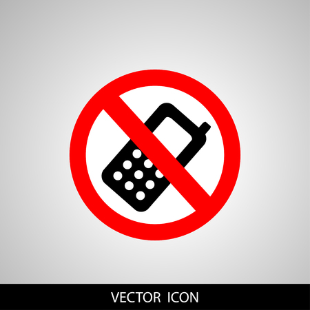 Prohibited round icon. Turn off cell phone sign on a gray background