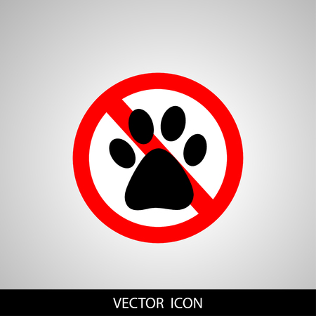 No Dog paw icon. Pets symbol. Red prohibition sign.