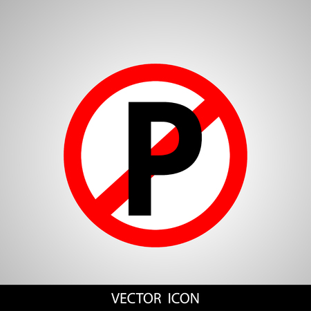 dumping: No parking sign icon on gray background.