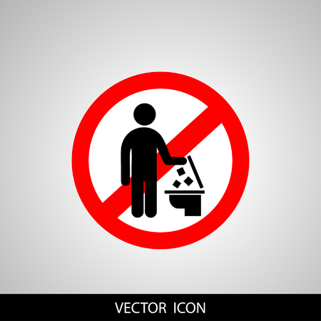 A vector illustration of conceptual design for do not throw trash in the toilet