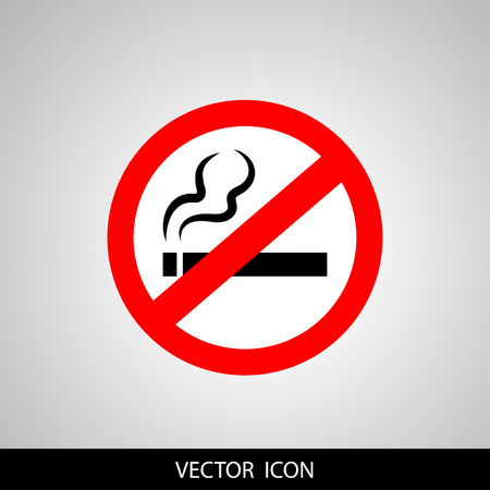 No smoking sign featuring a silhouette illustration of cigar and red banned circle Illustration