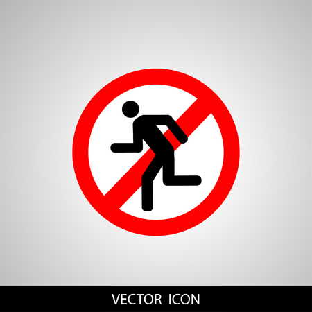 A sticker or banner background of vector icon featuring a concept of prohibiting to run
