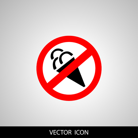 A sticker or banner background of vector icon featuring a concept of No ice cream symbol 일러스트