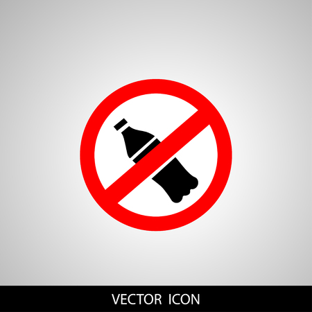 A sticker or banner background of vector icon featuring a concept of ban or not allowing Water Bottle