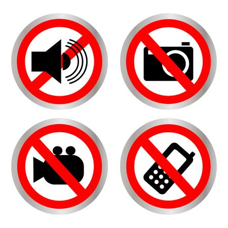 Conjunto de iconos que prohíben Foto de archivo - 90166055