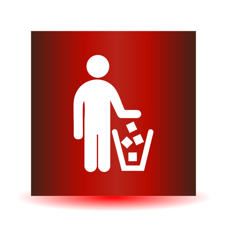 No littering sign in vector illustration, isolated on red background