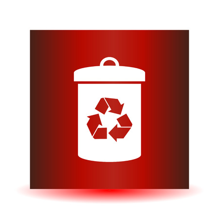 Litter sign illustration. White icon in the red square. Illustration