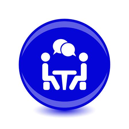アイコン会議。テーブルの周りに座って話している人々。