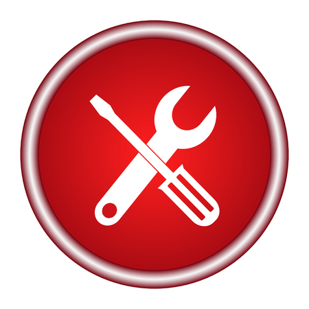 Tools red circle web icon on white background Illustration