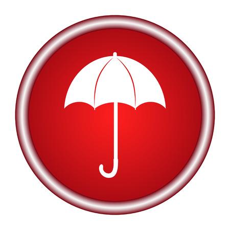 赤い傘のアイコン ベクトル フラットなデザイン。