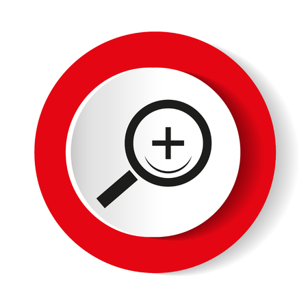 Search red web icon. Round vector icon.