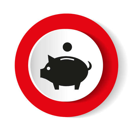 Pig icon on a red background. Vector illustration.