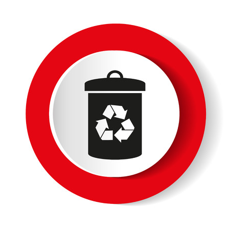 Litter sign illustration. White icon in the red circle. Illustration