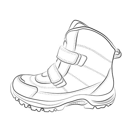 Sketch of winter women's and children's shoes on a white background. Vector illustration.
