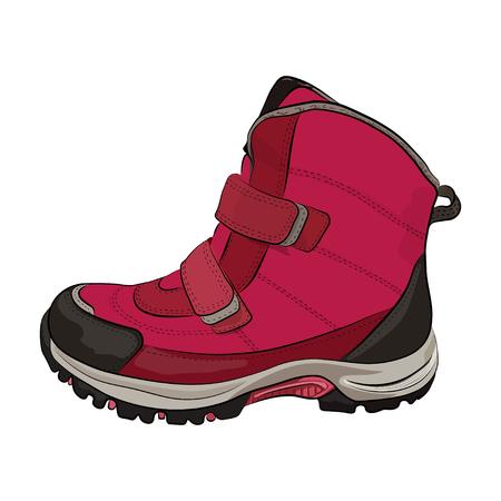 De roze vrouwen van de winter en de schoenen van de kinderen op een witte vectorillustratie als achtergrond.