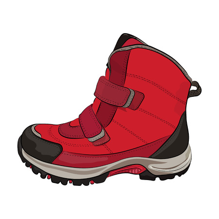 Winter red  women's and children's shoes on a white background. Vector illustration. Stock Illustratie