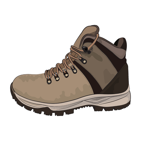 Brown winter boots for men vector illustration