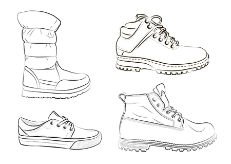 Sketch of men's and women's shoes on a white background. A set of winter shoes. Vector illustration.
