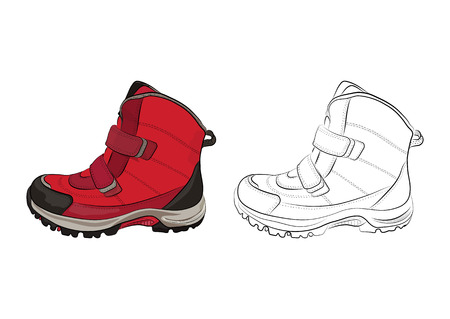 Winter womens and childrens shoes on a white background. Vector illustration.