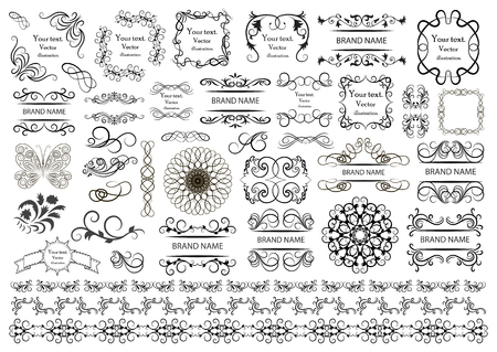Set of vector graphic elements for design on a white background vector illustration.