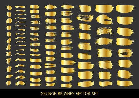 Set of gold paint, ink brush strokes, brushes, lines. Dirty artistic design elements, boxes, frames for text. Vector illustration.