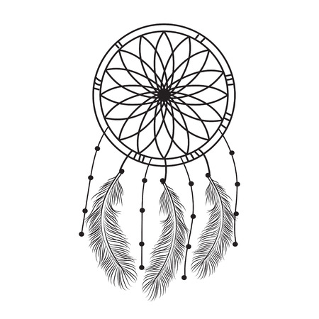 Dream catcher graphic in black and white decorated with feathers and beads.