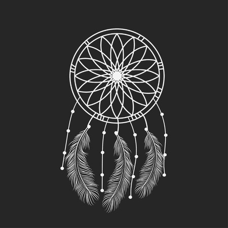 A Dream catcher graphic in black and white decorated with feathers and beads giving its owner good dreams in mandala style Vector illustration. Vectores