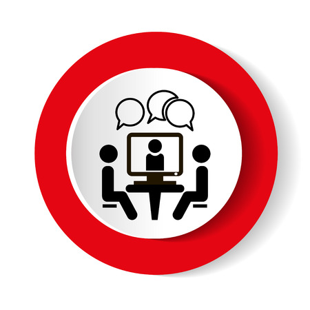 Conference icon. People sitting at the table. Online Video Chat vector icon. Illustration
