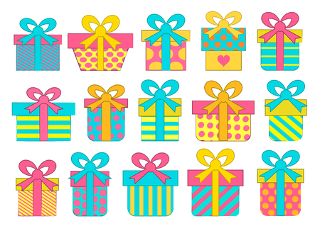 Set of colorful vector gift boxes with bows and ribbons.