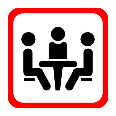 Conference icon. People sitting at the table.Conference icon. People sitting at the table. Vector illustration.