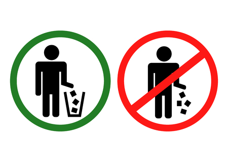 Circle No Littering Prohibited Sign, Icon or Label Isolate on White Background. Vector illustration