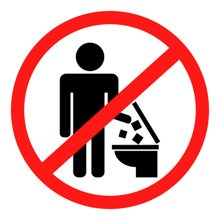 The icon does not throw garbage in the toilet. Vector image.