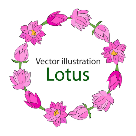 Frame of pink flowers. Vector illustration. Illustration