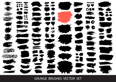 Big collection of black paint, ink brush strokes, brushes, lines, grungy. Dirty artistic design elements, boxes, frames for text. Vector illustration. Illustration