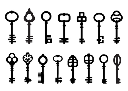 Set of isolated graphical retro keys.