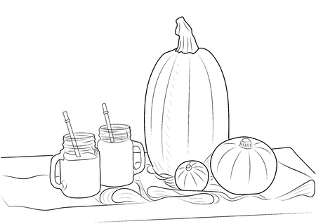 Sketch fresh pumpkin and pumpkin juice on a burlap on a wooden table.