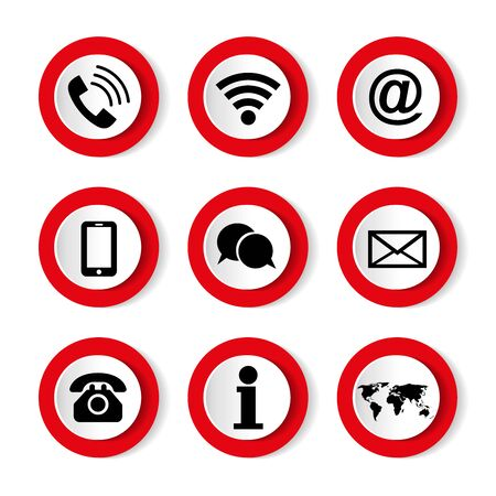 Set of icons on white background, on the topic, contact us. Communication icon set.