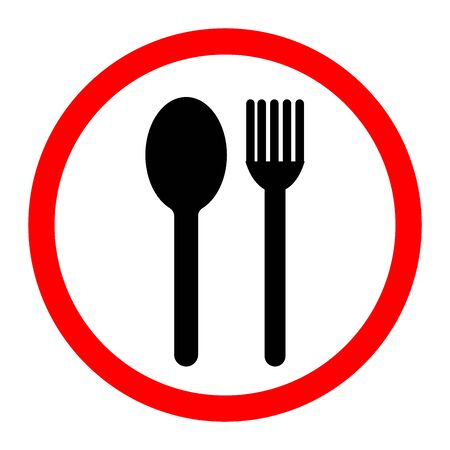 Spoon and fork Icon. Food, dining, bar, cafe, hotel, eating concept. Sign Isolated on white background.