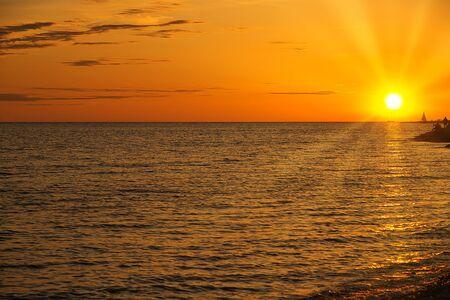 Sunset at sea in Sochi, Russia.