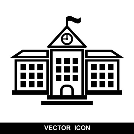 School icon, isolated building on white background