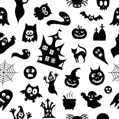 Abstract pattern seamless pattern background.  Set of silhouettes of Halloween on a white background. Great for fabric, paper, web banners, wallpapers.