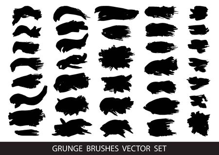 Set of black paint, ink brush strokes, brushes, lines. Dirty artistic design elements, boxes, frames for text. Vector illustration.