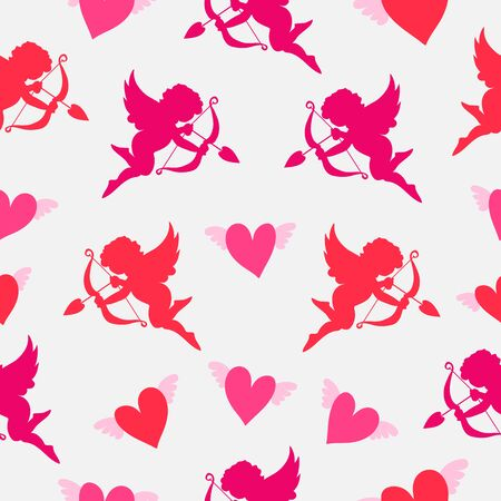 Abstract pattern seamless vector pattern background. Pattern of hearts and an angel. Great for fabric, paper, web banners, wallpapers.