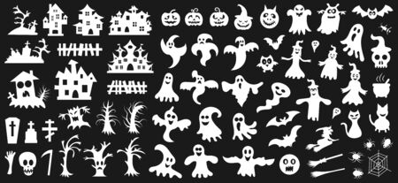 Set of white silhouettes of Halloween on a black background. Vector illustration